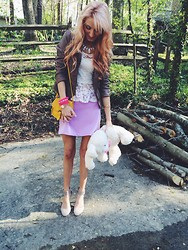 Jessica Pagán - Ross Heels, Forever 21 Lilac Skirt, Papaya Lace Peplum Top, Marshalls Leather Jacket, Charming Charlie Statement Necklace, Forever 21 Yellow Purse, Forever 21 Daisy Bracelet, Forever 21 Pink Beads - Pastels And Lace