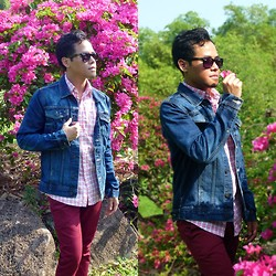 Irwan Shah . - Ray Ban Black Shades, Uniqlo Pink Easy Iron Shirt, Pull & Bear Denim Jacket, Topman Red Chino - Real man treats his lady right, not by wearing pink