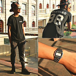 Bryan Laroza - Rebel Gear Snapback, Tee Culture T Shirt, Bench Joggers, Milanos Boots, Casio Watch - Lazy Bastard