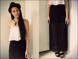 Loraine Kelly B. - Urban Outfitters Hat, Bershka Crop Top, H&M Sheer Maxi Skirt, Zara Platform Sandals - I see right trough you