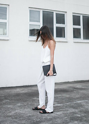 Kaitlyn Ham - Common Projects Black Leather Slide Sandals, Alexander Wang Prisma Double Envelope Clutch Crossbody Bag In Matte Black, Camilla And Marc Zoya Minimalist Cami Top, Nicholas Foldover Slouch Pant - The Simple Things.