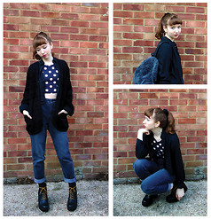 Emily May - Black Jumper From My Mum, Topshop Black And White Spotty Crop Top, Bdg Black High Waisted Mom Jeans, Vagabond Black Leather Boots, H&M Black Shirt, Monki Furry Fleece Backpack - Spotty Hoops