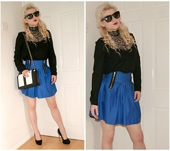 Ava Clarice Hornby - Primark Lace Blouse, Primark Cobalt Skirt, H&M Bag, New Look Heels, Primark Sunglasses - Rock It..