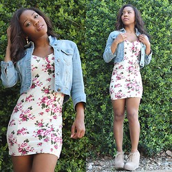 Arianna Jonae - Charlotte Russe Earrings, Forever 21 Floral Dress, Forever 21 Jean Jacket, Wave Nude Wedges - Flower Power