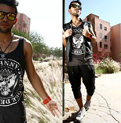 Khalil Alaoui - Choies Sunnies, Modekungen Tank, 1facewatch Watch, Asics Sneaker, Pant, Vest - You Make Me Feel Like I'm In Havean