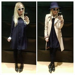Gabriella B - Primark White Round Shades, New Look Classic Fedora, Glamorous Contrast Collar And Cuff Shirt Dress, Zara Trench Coat, Zara Block Heel Ankle Boots - Geek noire, anyone?