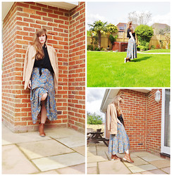 Rebecca Armstrong - Laura Ashley Vintage Floral Midi Skirt, Missguided Tailored Coat In Camel, Barbour Leather Tan Chelsea Boots - Thrifty Vintage!