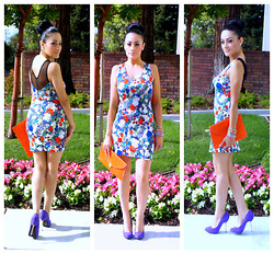 Marina Hidalgo - Ami Clubwear Multi Floral Print Sexy Party Dress, Ebay Clutch, Shoedazzle Suede Purple Pumps, H&M Jewelry - Love Is The Flower You've Got To Let It Grow