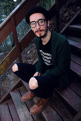 Morris S - H&M Hat, Weeyewear Glasses, Cubus Cardigan, Amazon T Shirt, Thrifted Corduroy Pants, Roots Boots - Herbs