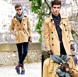 "Matthias C. - Trench Coat, Jeans, Royalties Paris Medallion Socks, Guidomaggi Elevator Shoes, Sismeek Watch, Gloves, Oliver Peoples Sunnies, Loft Design By Scarf - ""Fabulae"""