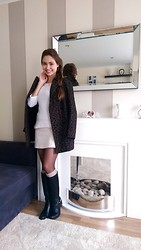 Liliya Saffina - Zara Coat, H&M Jumper, United Colors Of Benetton Skirt, Linea Boots - Cream casual