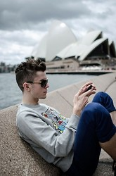 Alexander Jardine - Louis Vuitton Evidence Sunglasses, Kenzo Grey Tiger Sweater, Topman Blue Chinos - Take me to the Opera House