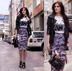 Viktoriya Sener - Banggood Jacket, Mango Tee, Poppy Lux Skirt, Zara Clutch, Zara Sandals - GREY SKIES
