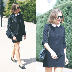 Trini Gonzalez - Ray Ban Sunglasses, The Kooples Leather Jacket, Sandro Dress, Chanel Bag, Chanel Flats - Spring 2014