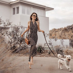 Elle-May Leckenby - Sheinside Black Deep V Neck Polka Dot Backless Jumpsuit - See you later