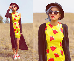 Alanna Durkovich - Wholesale Celeb Shades Coquette Cat Eye Sunglasses, Radpopsicles Rad Melon Printed Dress - Fresh & Fruity