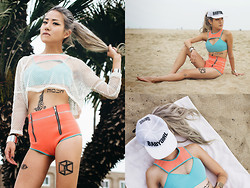 Eugénie Grey - Dimepiece Babygirl Cap, This Is A Love Song Bikini, This Is A Love Song Hooded Mesh Top - Salmon and Mint