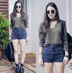 Gabriela Araujo - H&M Sunnies, Vintage Necklace, Bdg Sweater, Forever 21 Hight Waisted Short, Forever 21 Universe Socks, Sammydress Cut Out Boot - Show them what you do with me