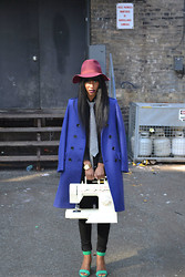 Michelle R - Urban Outfitters Burgundy Hat, Burberry Indigo Blue Oversized Coat, Zara Seafoam Green Sandals, Boarded Hall Tie - The Singer
