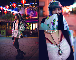 Essy Noir - Coveted Society Worped On Jacket, Urban Outfitters Compass Necklace, Purrr Lace Shorts - Neon High