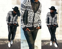 Ronald Gravesande - Asos Black Dress Shirt With Leather Collar, Forever 21 Black And White Tribal Cardigan, Zara Black Leather Pants, Aldo White Oxfords, Urban Outfitters Black Hat, Zara Black Clutch - A Tribe of Leather