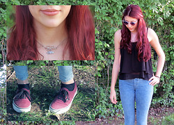 Martyna Loves you - Vans Burgundy, Etsy Birds In Love, Bershka Black Shirt, Pull & Bear Jeans, Holeographic Sunglasses - ❀It's spring ❀