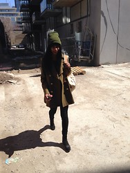 Michelle R - Burberry Olive Green Coat, J Brand Black Highwaisted Denims, Golden Goose Leopard Print Ankle Boots, Williams & Gunn Backpack, Urban Outfitters Camp Tuque - Military Chic