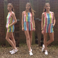 Sophie Pulford - Topshop Playsuit, Truffle Shoes - Pastel stripes