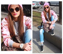 Arina P. - Kawaiicat Teashade Glasses, Vans Leopard Sneakers, Juicy Couture Watch, Vans Backpack, Blumarine Jeans, Kawaiicat Pink Hat - LET'S BRIGHTEN UP THE STREETS