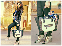 Lilit M. - Zara Shoes, H&M Pents, New Look Leather Jacket, Love Republic Bag - Black & White