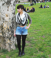 Sabrina B - Dr. Martens Black Docs, Aeropostale Lace Crop Top, Aeropostale Elephant Scarf, Bdg High Waisted Shorts - Saturday in Central Park