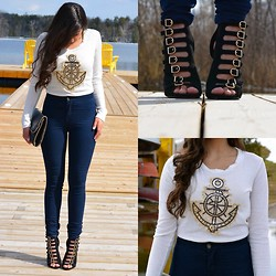 Sarah M - Frontrowshop High Waisted Skinny Jeans, Papaya Clothing Nautical Cropped Top, Urban Og Buckle High Heels, Forever 21 Chain Clutch - Anchored at Dock