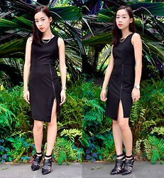 Faith Png - Oasap Black Slit Dress, Zara Pointed Heels - The Slit Dress