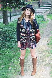 Leigh Travers - Duo Boots, Zara Tapestry Jacket, Vintage Dress - WAISTE