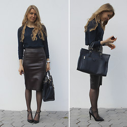 Gintare Hermanaviciute - Zara Python Leather Skirt, Zara City Bag With Zips - A little leather never hurts!