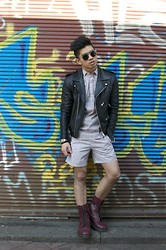 Gene Zamora - Sandro Biker Jacket, Cos Shirt And Shorts, Dr. Martens Boots - Cherry Boots
