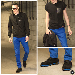 Max Wright - Topman Black Roller Tee With Pu Pocket, Asos Wayfarer Sunglasses With Gold Mirror Lens, Member's Only Iconic Racer Jacket, Hollister Co. Skinny Jeans, Casio Resin Digital Watch, Nautica Suede Boots With Wingtip Stitching - Blues