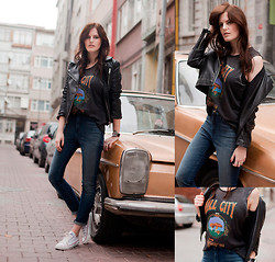 Viktoriya Sener - Kill City Tank, Kill City Jeans, Zara Leather Jacket, Converse Trainers - KILL CITY