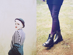 Laura B. - H&M Hat, New Yorker Blazer, H&M Cardigan, New Yorker Jeggings, Dr. Martens Boots - Stripes