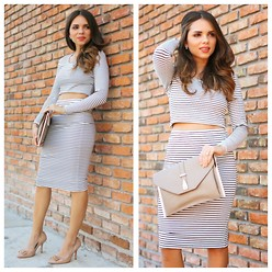 Daniela Ramirez - Lovers + Friends Crop Top, Lovers + Friends Striped Midi Skirt, Coach Shoes, Danielle Nicole Bag - Summer in stripes...
