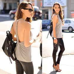 Jessica R. - Lovers + Friends Sunlight Tank, Rebecca Minkoff Leather Backpack, Dailylook Black Heels - Sunlight in the City