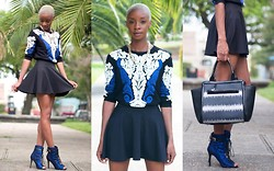 Blake Von D - Chic Wish Baroque Sweater, Go Jane Skater Skirt, Shoedazzle Shishi Booties, Gx By Gwen Stefani Printed Handbag - Black & Blue All Over