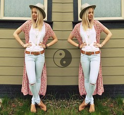 Bethany Aeckersberg - Chaser White Tank, Urban Outfitters Booties, Vintage Shawl, Vintage Hat - Flowers and Things