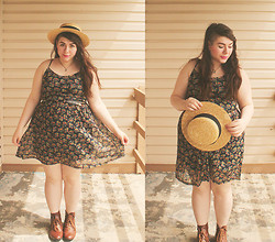 Katie - H&M Boater Hat, Thrift Floral Slip Dress, Thrift Folded Ankle Boots - April Showers and May Flowers