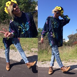 Mikhael S - Thrift Hamsa Button Down, Acid Wash Jeans, Thrift Fringed Boots, Fcrown Floral Crown, Circle Glasses - Festival Season