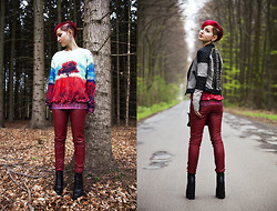 Julia Loewenherz - Sheinside Tree Of Life Sweater, High Platform Zip Boots, Diy Biker Jacket With Spikes - ❤Love the woods,save the trees- recycle!❤
