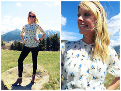 Signe Savant - Swallow's Heart Quartz Arrowhead Necklace, Charlotte Russe Sueded Ankle Booties, J.Crew Floral Swing Top - Making friends in the Pyrenees...