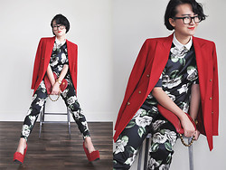 Elizabeth Jin - River Island Shirt, Jeffrey Campbell Heels - Bloody Red and White Roses