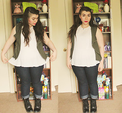 Katie - Vest, Peplum Top, Jeans, Boots - All The World Will Read You