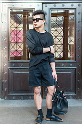 Gene Zamora - Birkenstock Sandals, Alexander Wang Bucket Bag, American Apparel Shorts, H&M Jumper - Forbidden Sandals